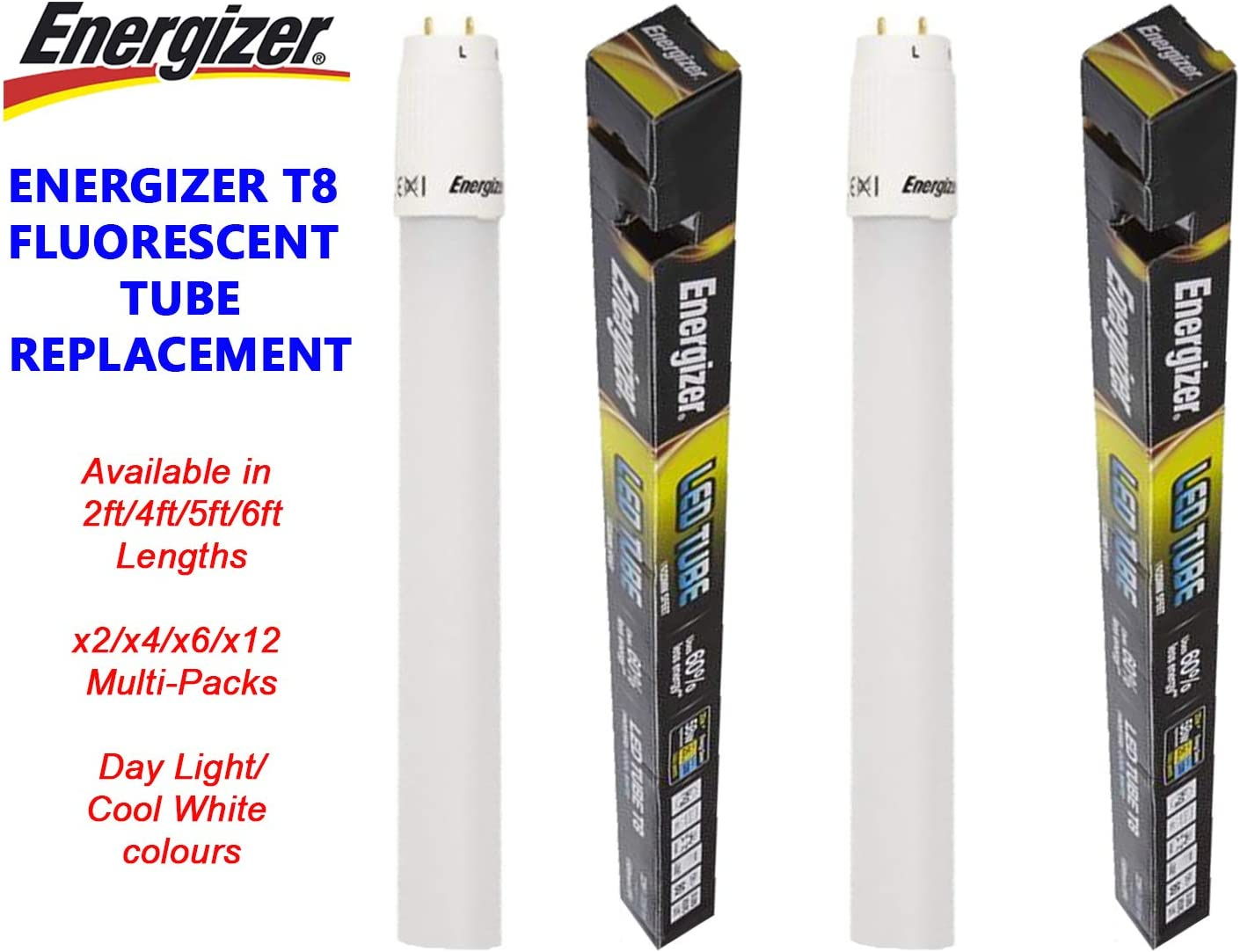 Daylight Energizer T8 LED Tubes Fluorescent Replacement 2ft 4ft 5ft 6ft Cool
