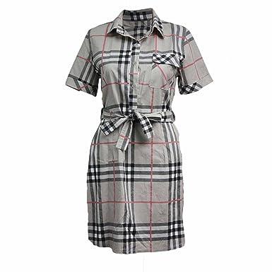 d9f608735d1 malaika fashions Womens Ladies Burberry Check Print Collard Button Cotton Shirt  Dress (One Size  Regular