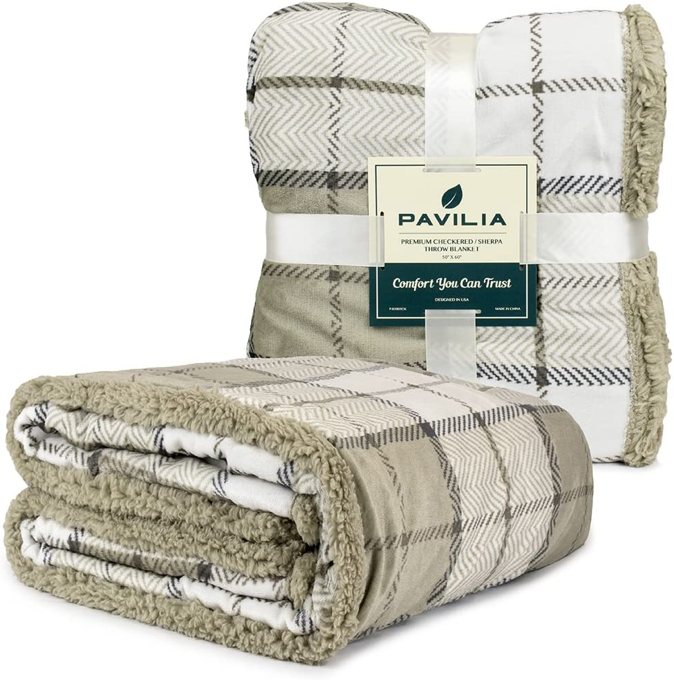 PAVILIA Premium Plaid Sherpa Fleece Throw Blanket   Super Soft, Cozy, Plush, Lightweight Microfiber, Reversible Throw for Couch, Sofa, Bed, All Season (50 X 60 Inches Beige Latte)