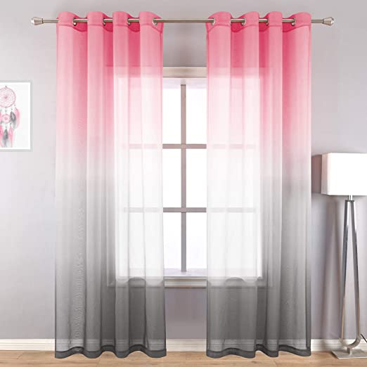 Amazon Com Pink And Grey Curtains For Bedroom Decor Set Of 2 Panels Ombre Grommet Window Sheer Curtains For Girls Room Decorations Baby Nursery Living Room 52x84 Inches Long Pink Gray Kitchen
