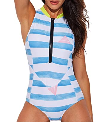 a169d761a7 Funnygirl Womens One Piece Retro Print Halter Low Back High Waist Monokini Bathing  Suits Swimsuit Swimwear
