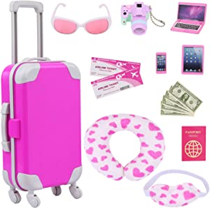 ZITA ELEMENT 16 Pcs American Doll Suitcase Luggage Travel Play Set for Girl 18 Inch Doll Travel Carrier Storage, Including Luggage Pillow Blindfold Sunglasses Camera Computer Cell Phone Ipad,ect