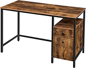 HOOBRO Computer Desk, Study Writing Desk, Office Desk with Drawers and Storage Cabinet, Vintage Style, Game Desk, Stable Metal Frame, Easy to Clean, Rustic Brown BF118DN01