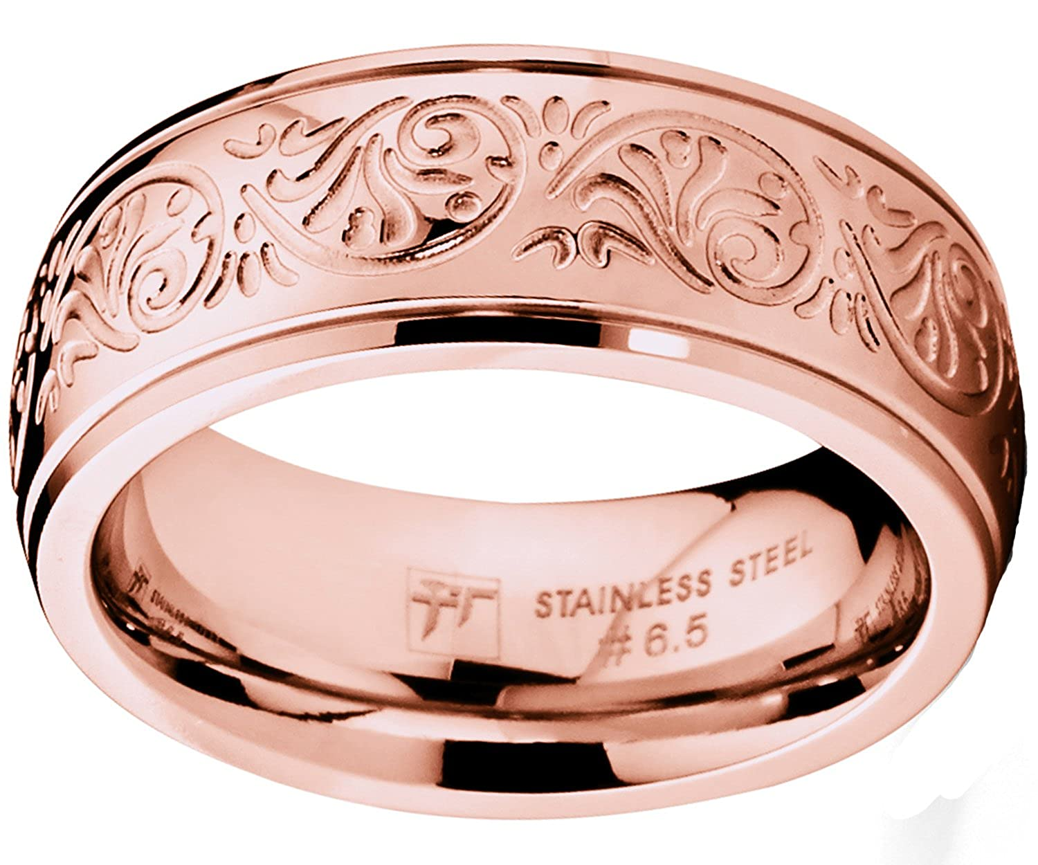 Ultimate Metals Co. ® Rose Gold Pink Women\'s Stainless Steel Ring ...
