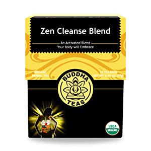 Organic Zen Cleanse Blend Tea - Kosher, Caffeine-Free, GMO-Free - 18 Bleach-Free Tea Bags
