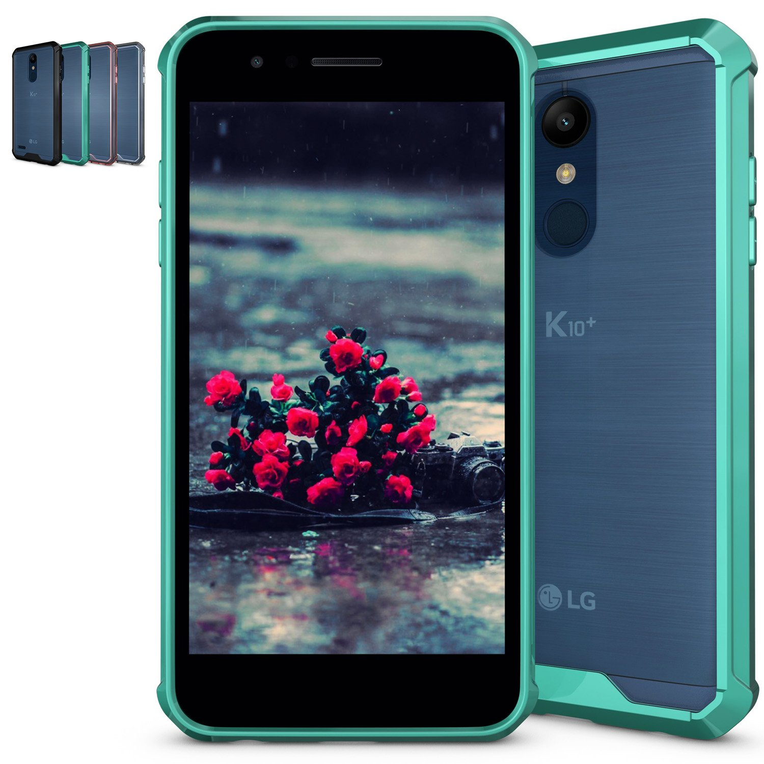 LG K10 2018 Clear Case,LG K30 / Premier Pro LTE/Harmony 2 / Phoenix Plus Case,NiuBox Armor Ultimate Crystal Shock-Absorption Bumper Anti-Scratch Slim Fit Protective Phone Case for LG K30 Turquoise