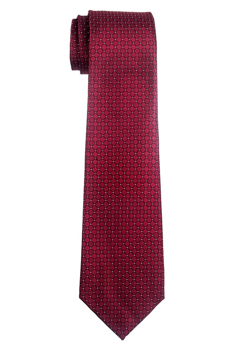 Retreez Check Textured Woven Boy's Tie (8-10 years) - Burgundy