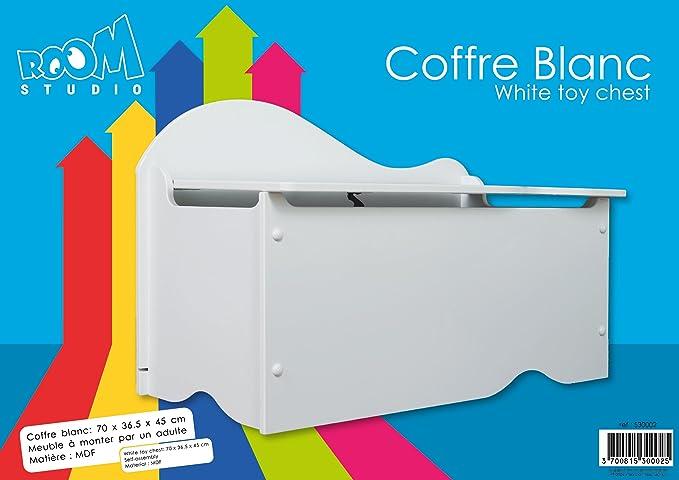 ROOM STUDIO 530002 - Baúl Infantil (Madera MDF, 70 x 36,5 x 45 cm), Color Blanco