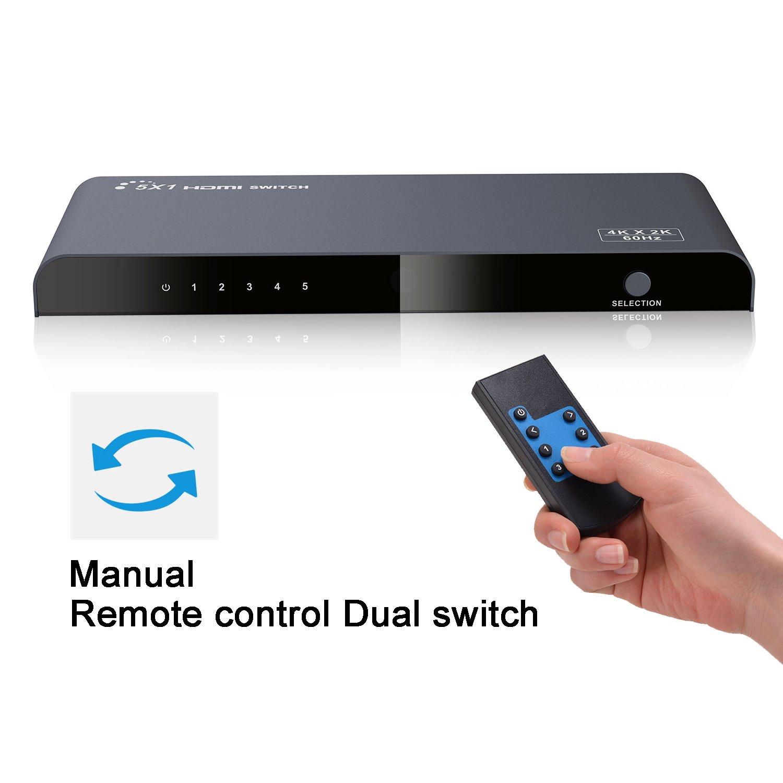 IR Support Full HD 1080P Audio Extracteur 1 * 2 Arc L//R Arc EDID 3D 5.1CH//2CH by-Pass AGPTEK Extracteur Audio Splitter Switch avec MHL