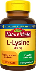 Nature Made L-Lysine 500 mg Tablets, 100 Count for Protein Synthesis†