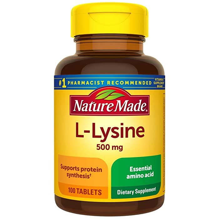 Nature Made L-Lysine 500 mg Tablets, 100 Count for Protein Synthesis
