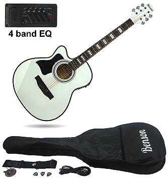 Benson S-Line zurdos eléctrica electro Semi acústica guitarra cuerpo hueco (color blanco) Fender púas y lecciones: Amazon.es: Instrumentos musicales