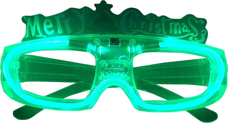 Set of 4 LED Light Up Merry Christmas Glasses