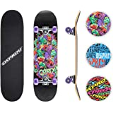 Osprey Skateboards for Beginners - 31 Inch Double Kick Concave Teens Kids Skateboard with 7 Layer Maple Deck –110lbs Max User