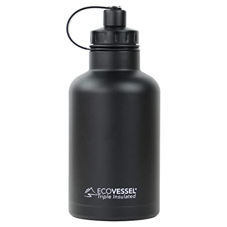 EcoVessel Vacuum Insulated Large Travel Growler Bottle for Water, Beer, and Tea - Stainless Steel 64 oz Thermos Water Bottle with Infuser Filter and Wide Mouth Dual Opening Cap BOSS