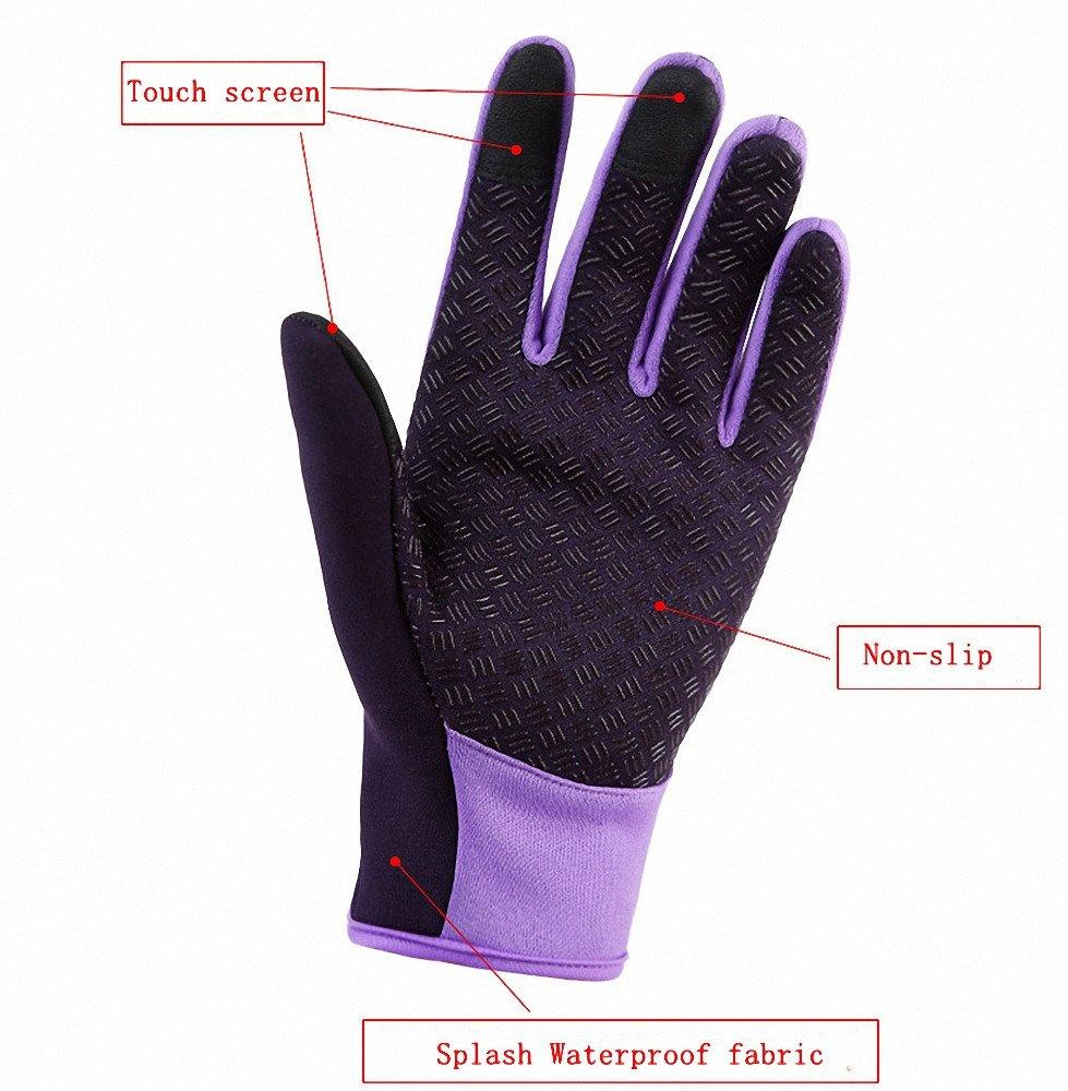 Waterproof Touchscreen Cycling Gloves Winter Warm Full Finger Outdoor Ski Snow Bike Women Men Adjustable Size Glove for Smart Phone,Black,M /Plam width:3.14in by HILEELANG (Image #5)