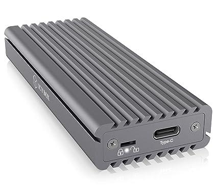 ICY BOX SSD M.2 NVMe Carcasa, USB 3.1 (Gen2, 10 Gbit/s), Sistema de refrigeración, USB-C, USB-A, PCIe M-Key, Aluminio, Gris
