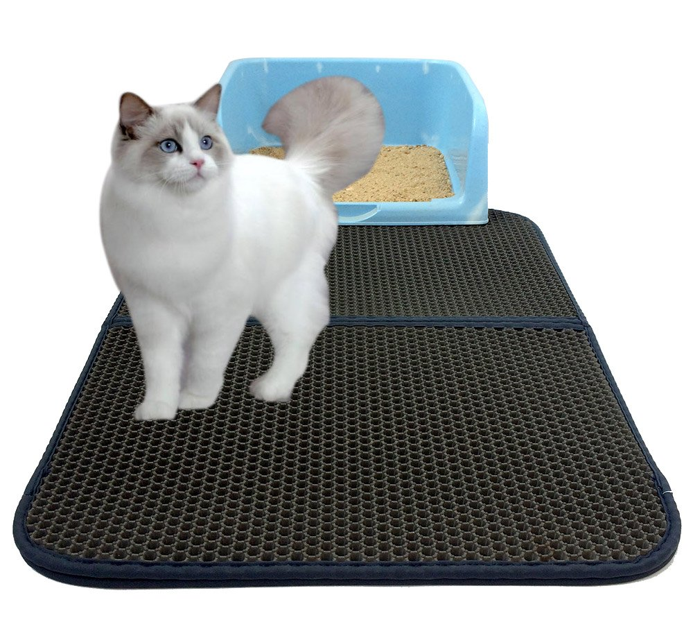 Black-1 Cat Kitty Litter Trapper Pet Water-Proof Mat Double-Layer Litter Pad Light Weight Anti-Water Anti-Scrathing Cat Dog Urine Mat Feeding Pad