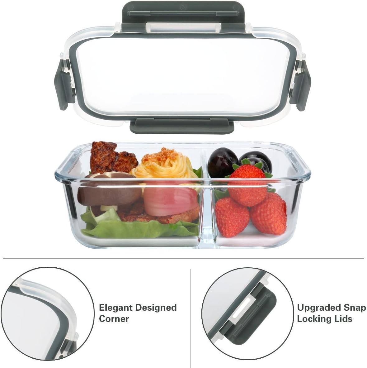 Freezer Forno E Lavastoviglie Adatti A Microonde Set Di 5/… Senza BPA MCIRCO Contenitori Per Alimenti in Vetro-Chiusura Ermetica 2 Scomparti