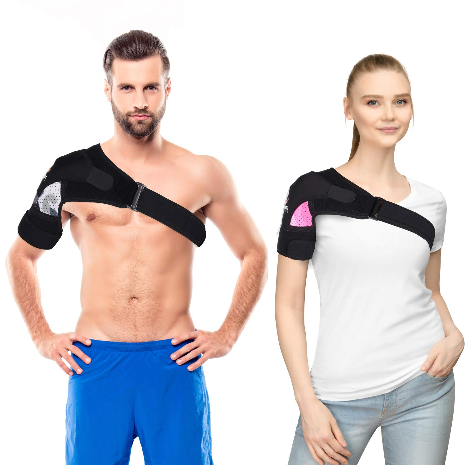 Shoulder Brace with Compression Pad for Men, Women, Right, Left,Adjustable Breathable Neoprene Shoulder Support for Rotator Cuff, Dislocated AC Joint, Bursitis by Cleviss (Pink, L-XL)