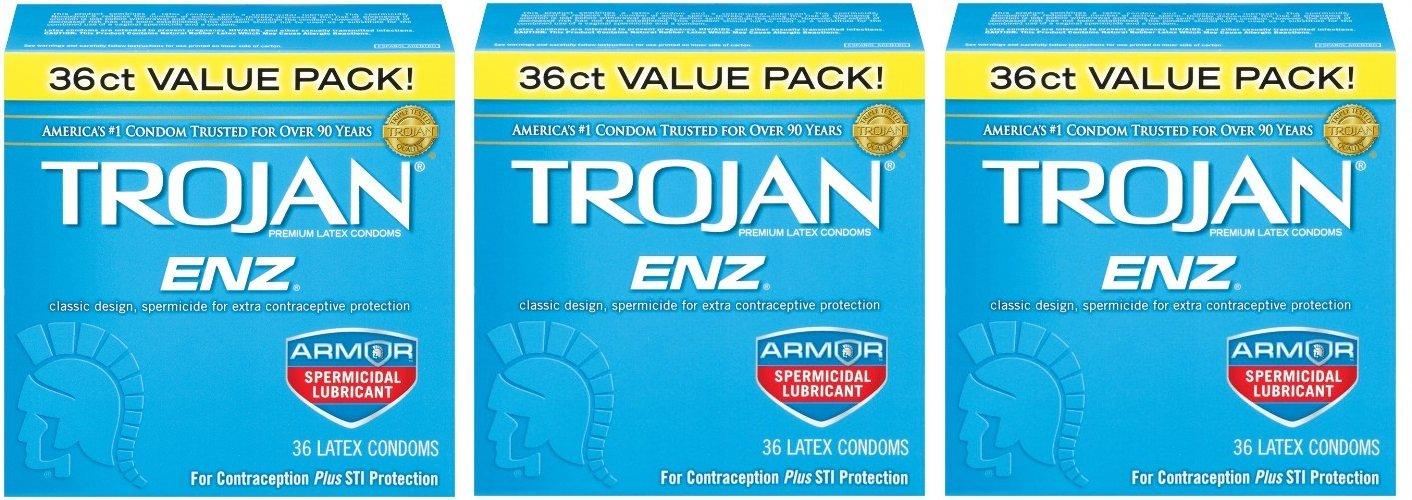 Trojan Enz Condom ezVTSl Enz Spermicidal, 36 Count (Pack of 3) by Trojan
