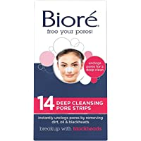Bioré Original, Deep Cleansing Pore Strips, 14 Nose Strips for Blackhead Removal, with Instant Pore Unclogging, features C-Bond Technology, Oil-Free, Non-Comedogenic Use