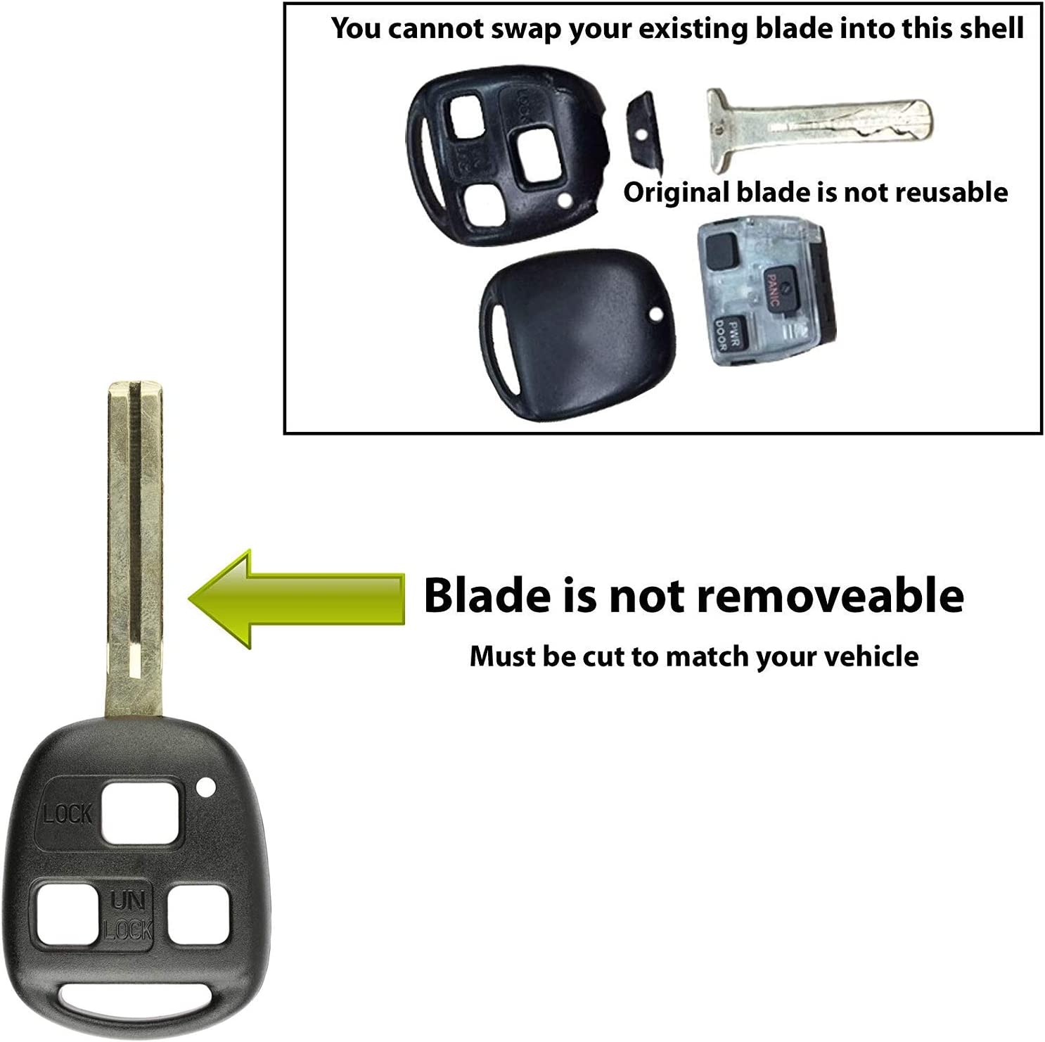KeylessOption 2 Key Replacement Case Shell Keyless Entry Remote Fob Uncut Blade Fix Master for HYQ1512V HYQ12BBT