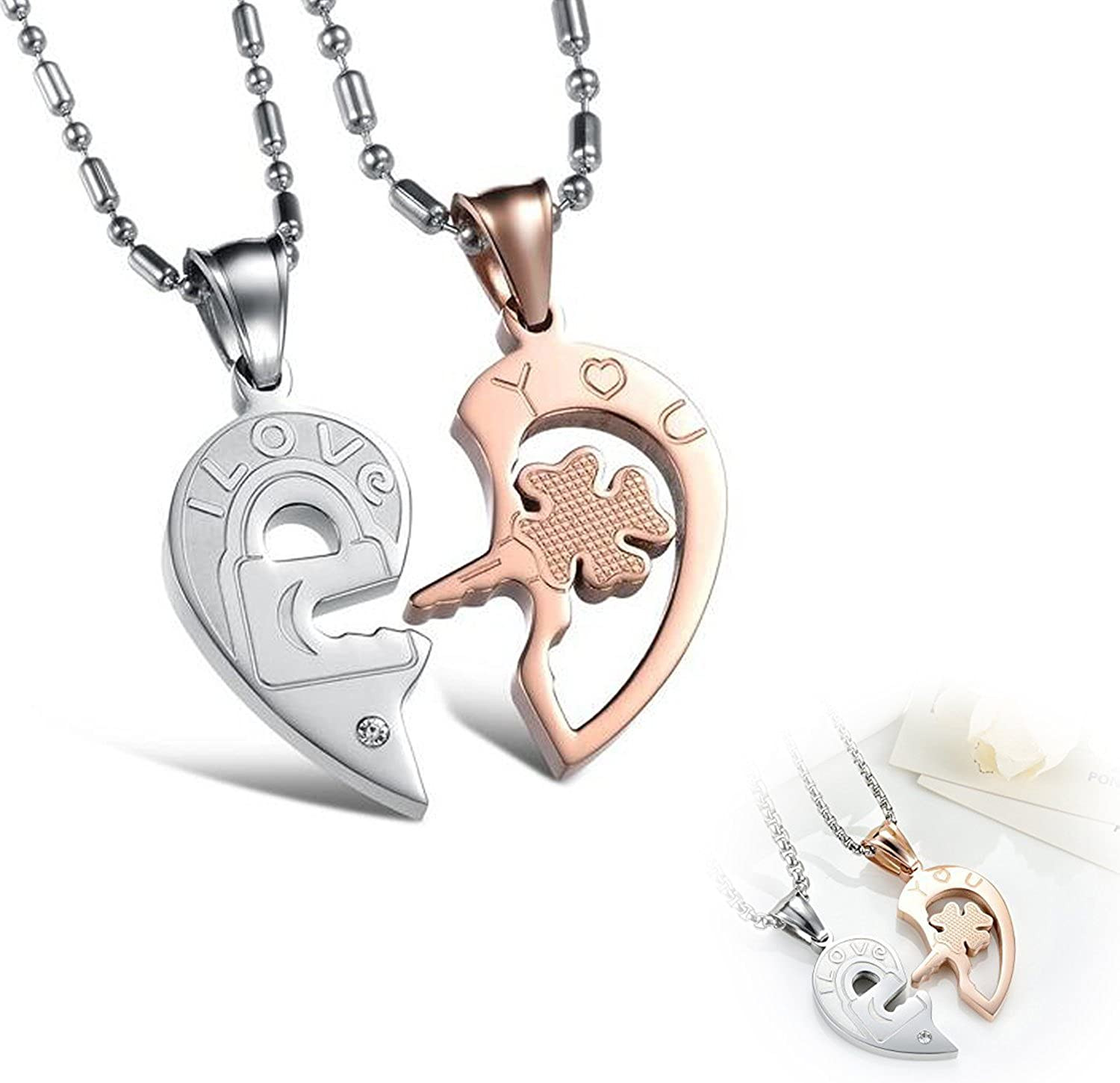 Rose Gold-plated Silver 22mm Heart Lock And Key Pendant