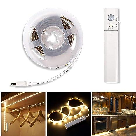 LED Streifen LED Strip LED Band LED Leiste LED Lichtleiste mit  Bewegungsmelder Batteriebetrieben für Kinderbet,Schrank, Schublade, Treppe,  ...