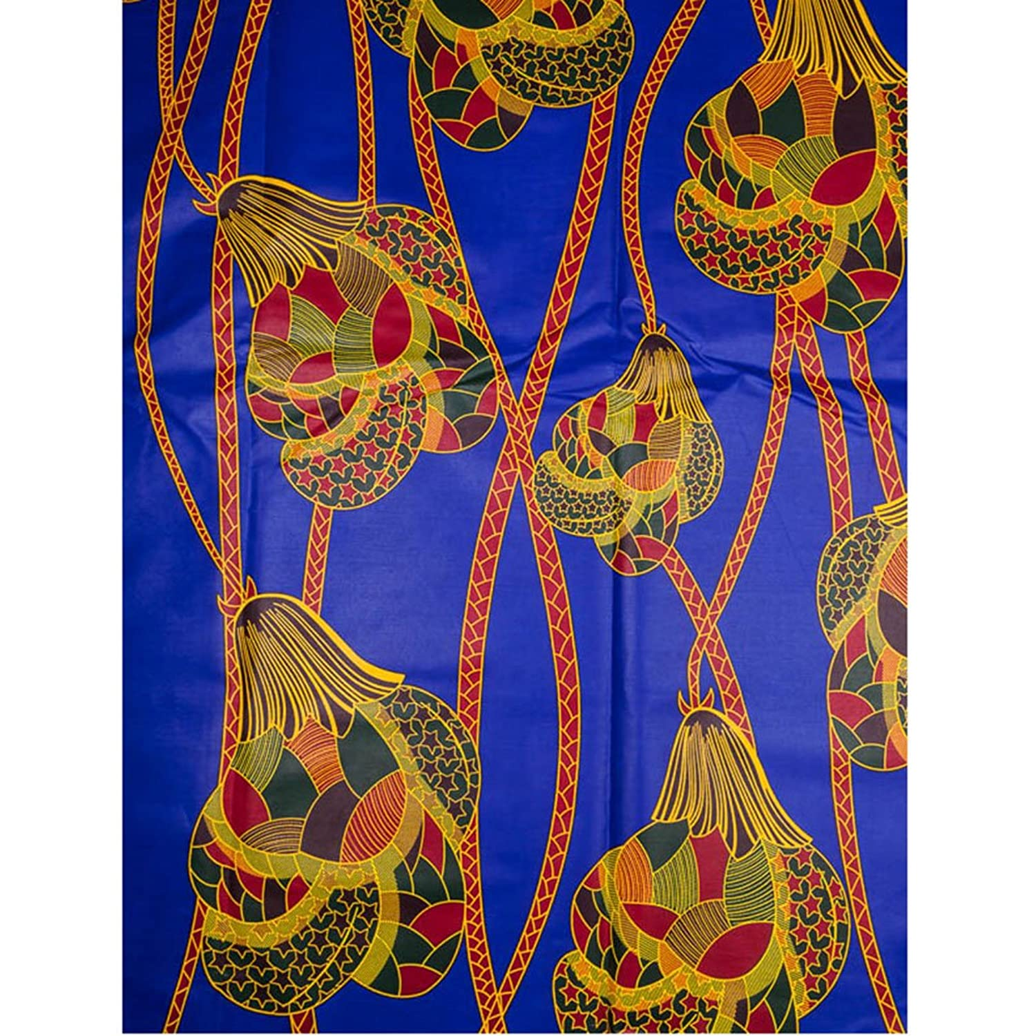 Premier African Material For Sale Real Wax Navy Blue Yellow Flower rw80481612