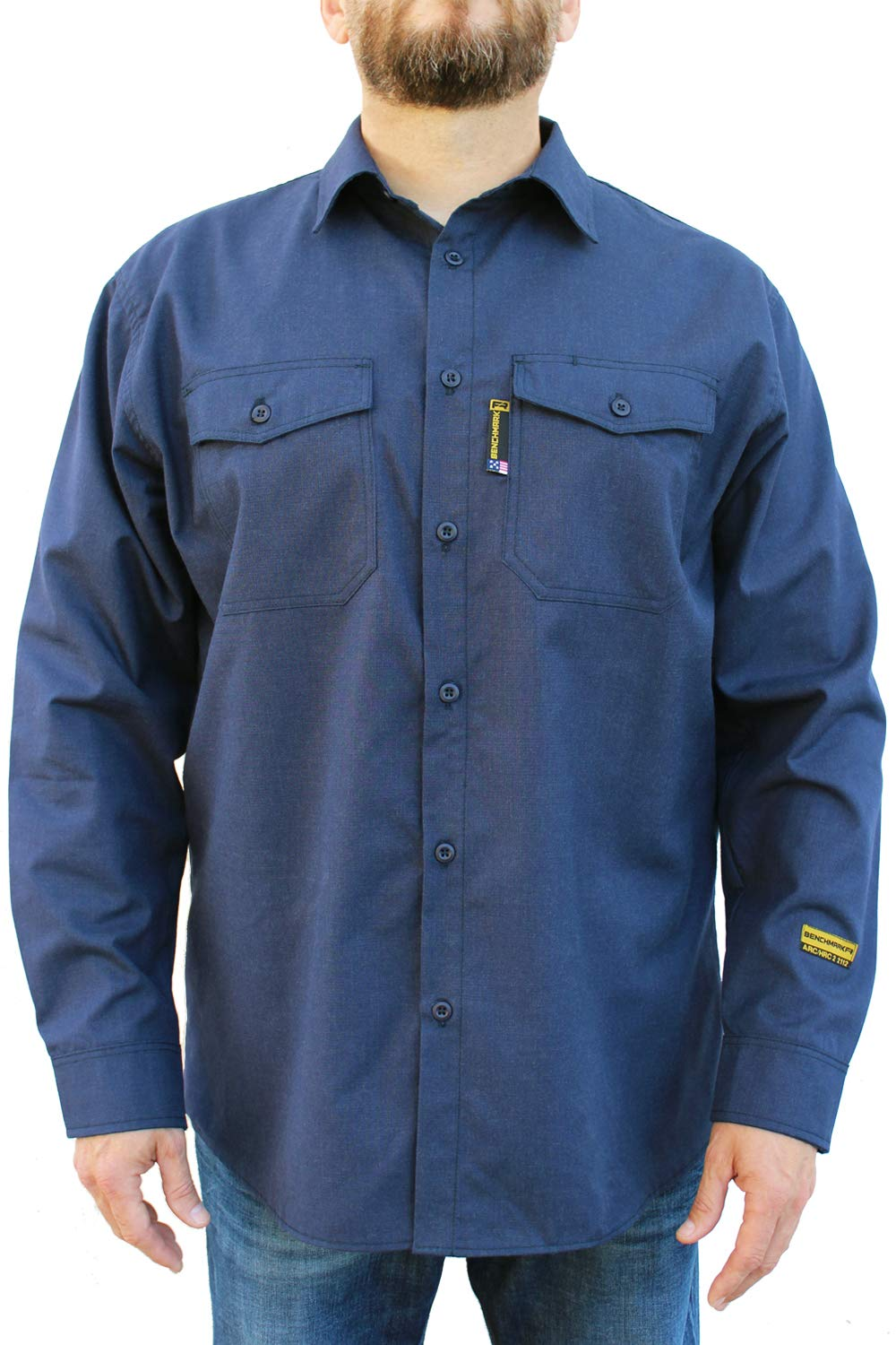 Benchmark FR Silver Bullet, 5.1 oz Ultra Lightweight FR Shirt, NPFA 2112 & CAT 2, Moisture Wicking, Men's FRC with 9 Cal rating, Made in USA, Advanced FR Materials, Navy, Large by Benchmark FR (Image #2)