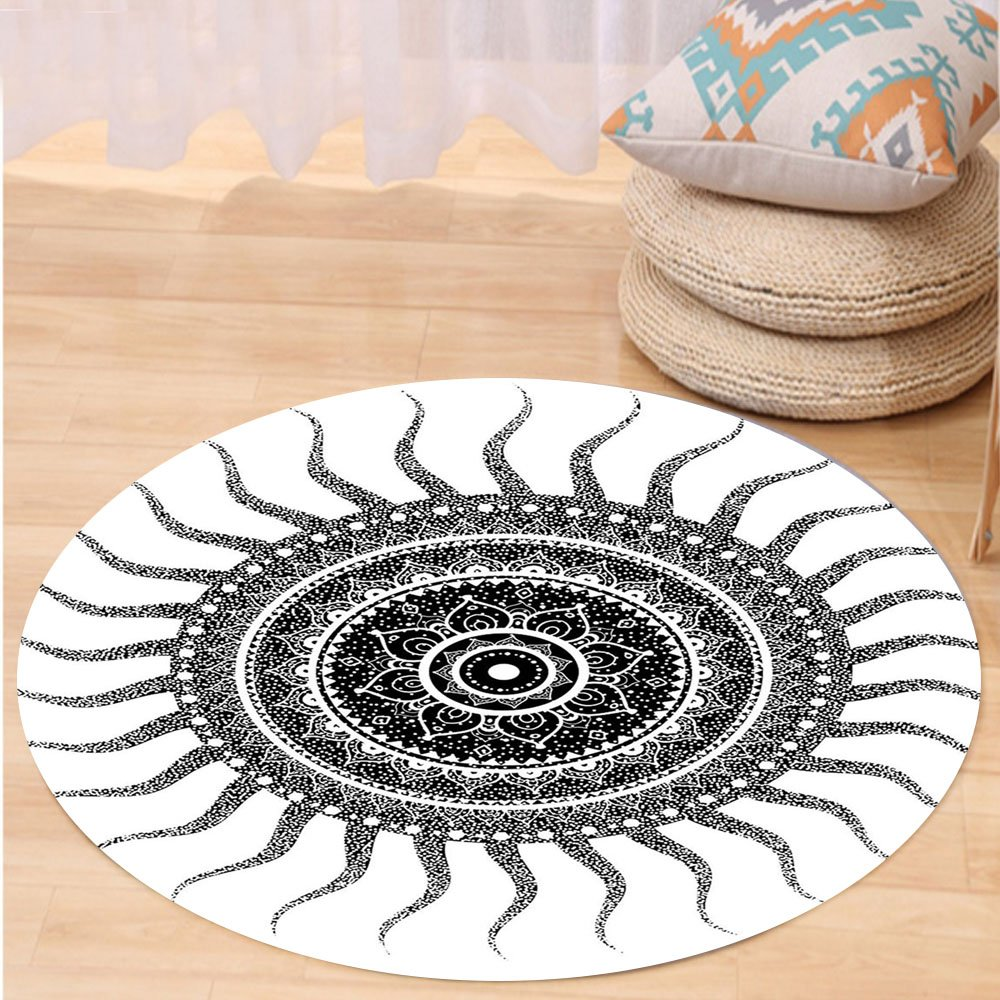 VROSELV Custom carpetMandala Decor Classic India Style Sun and Beams like Oriental Figures Decorative Print for Bedroom Living Room Dorm Black and White Round 79 inches