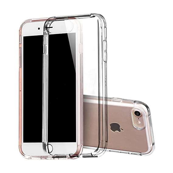 on sale 081d1 8dc1f Covery Soft TPU Fit Protective Crystal Clear Case Shock-Absorption  Transparent Back Cover for iPhone 7-- 4.7 inch /Thick Clear