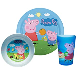 Zak Designs Peppa Pig Kids Dinnerware Set Includes Plate, Bowl, Tumbler and Utensil Tableware, Made of Durable Material and Perfect for Kids (Peppa & George Pig, 5 Piece Set, BPA-Free)