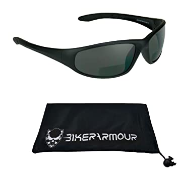 ecb39aea78 Motorcycle Wraparound Bifocal Sunglasses 1.50 with ANSI Z87.1 Safety Smoke  Lens for Men and Women - Free Microfiber Cleaning Case.