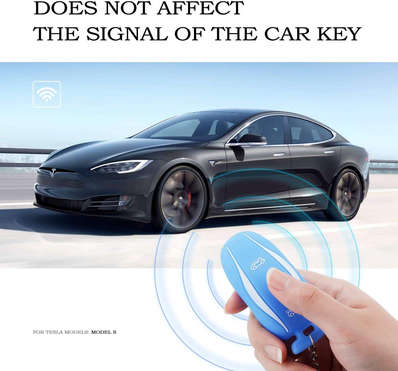 OLAIKE Couvercle de cha/îne Porte-cl/és pour Tesla mod/èle 3//mod/èle S Bleu,Mod/èle 3//S Porte-cl/és pour Tesla mod/èle 3//S Porte-cl/és en Silicone de Haute qualit/é avec Coque pour Voiture