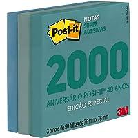 Bloco De Recado Autoadesivo, Post-It, 3M, Edição Especial de Aniversário, Anos 2000, 76x76 mm, 90 Folhas, Pacote com 3