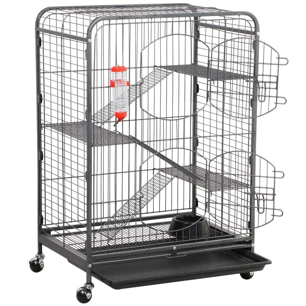Yaheetech 37'' Rolling Large Ferret Cage - Portable 4 Levels Chinchilla Squirrels Sugar Glider Small Animals Hutch w/Shelves/Ramps/2 Front Doors/Bowl/Bottle Black