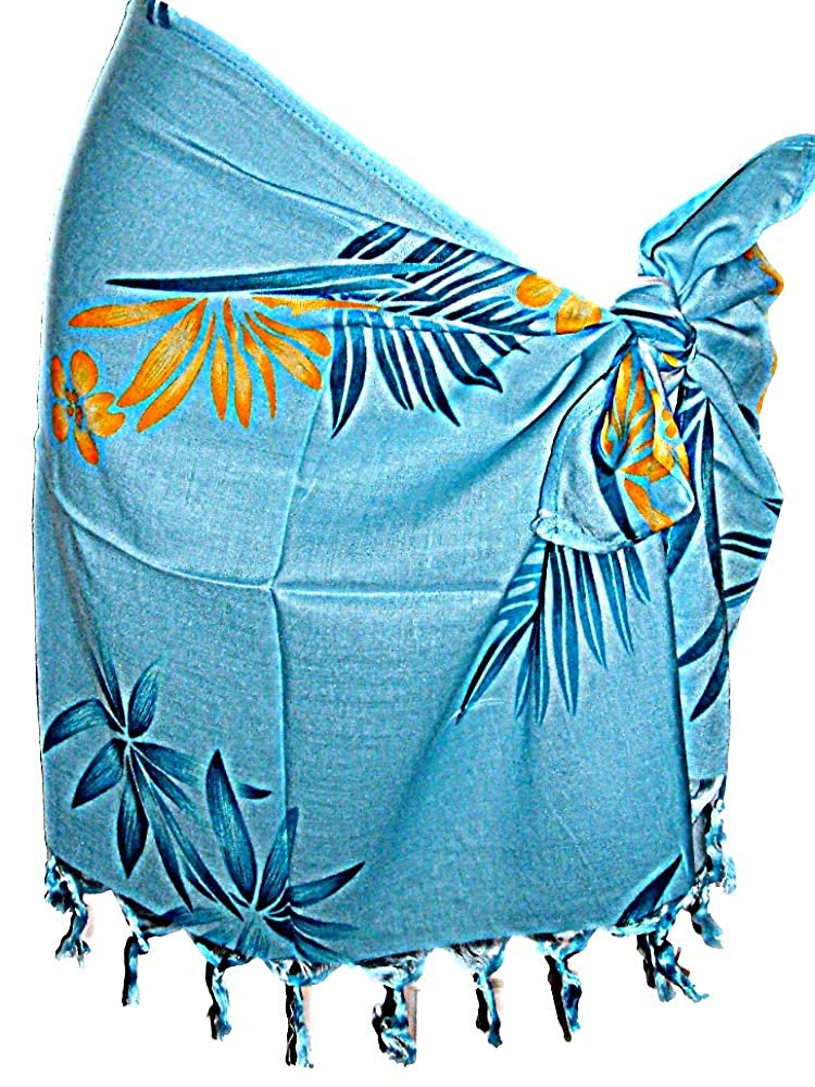 HAWAIIAN TROPICAL BOP FLOWERS BLUE GIRLS CHILDRENS SHORT SARONG 42W x 17L