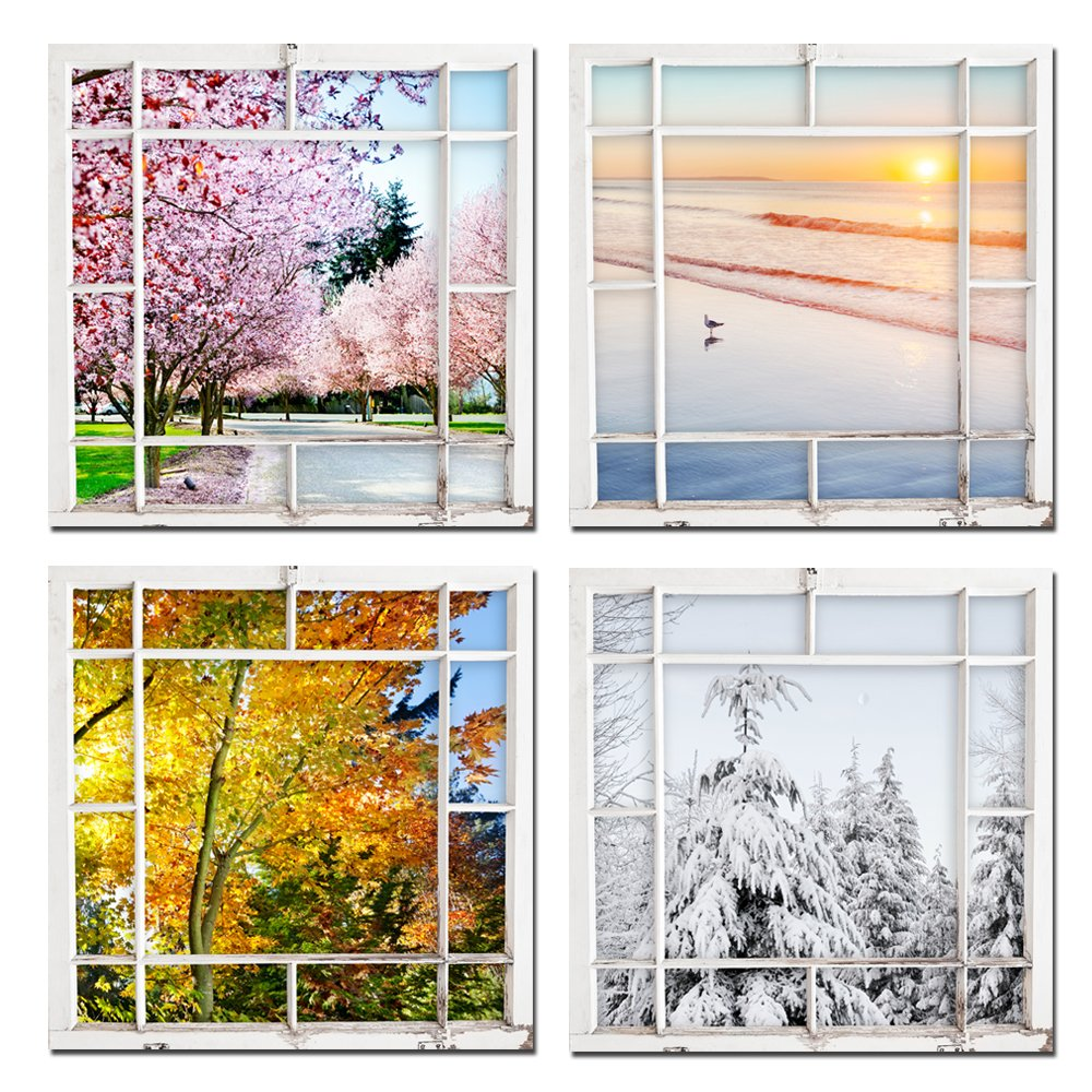 Sea Charm - 4 Seasons Modern Landscape 4 Panels Framed Canvas Print,Scenery Outside Window Wall Art,Gallery Wrap Home Living Room Decoration