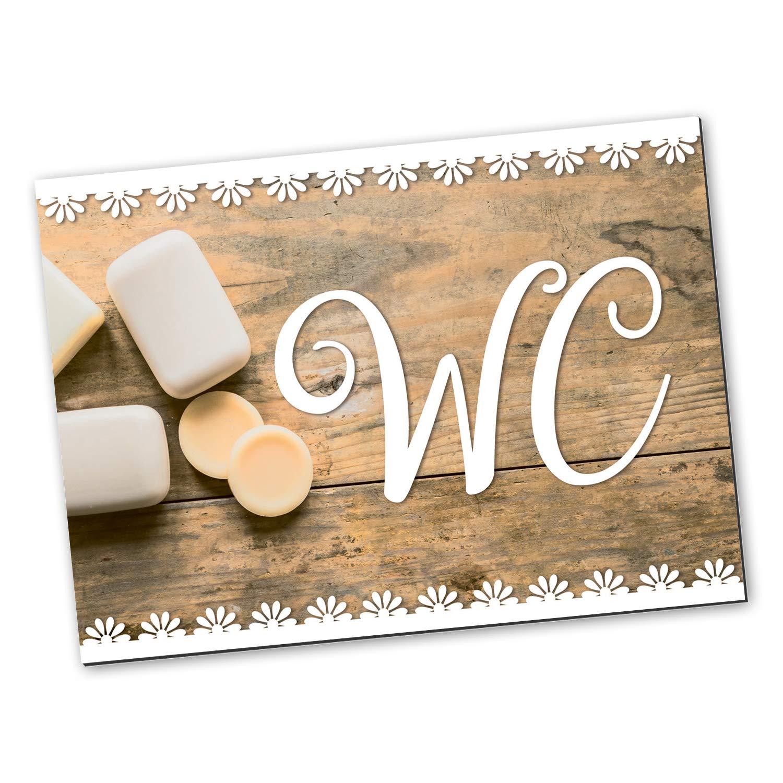 Logbuch-Verlag Plaque de WC avec pastilles adhésives pour Salle de Bain ou WC Aspect Bois Vintage Marron Blanc 14,8 x 10,5 cm