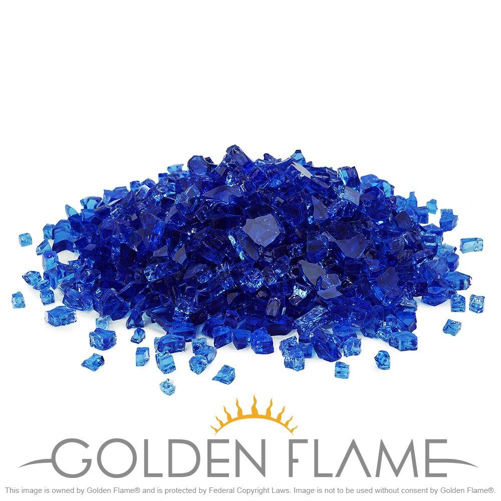 Golden Flame 10-Pound Fire Glass 1/4-Inch Cobalt Blue