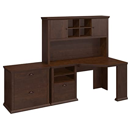 Bush Furniture Yorktown Corner Desk with Hutch and Lateral File Cabinet in Antique  Cherry - Amazon.com: Bush Furniture Yorktown Corner Desk With Hutch And