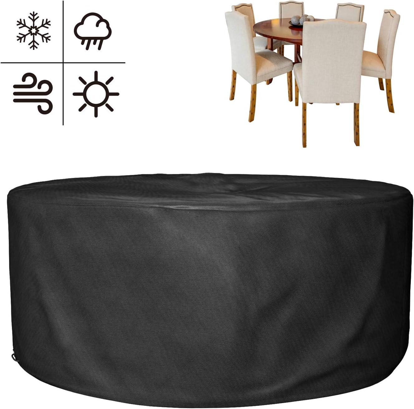 MVPOWER Cubierta Impermeable para Muebles de Jardín, Funda Protectora para Mesa Redonda, Cubierta Oxford de Exterior, Negro (130 * 71cm)