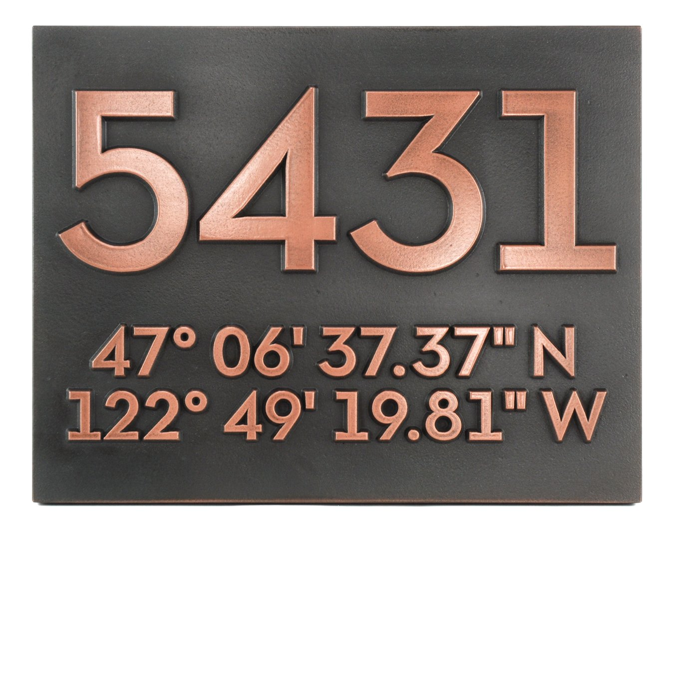 Latitude Longitude Address Number Plaque 14x11 - Raised Copper Metal Coated Sign by Atlas Signs and Plaques