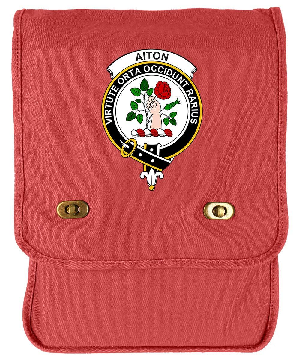 Tenacitee Scottish Clan Crest Badge Aiton Khaki Green Raw Edge Canvas Messenger Bag