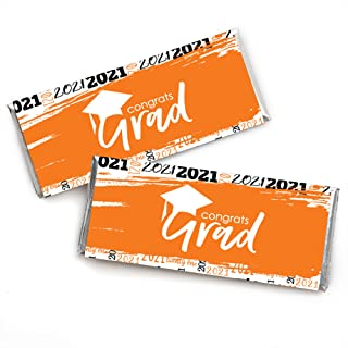 product image for Big Dot of Happiness Orange Grad - Best is Yet to Come - Candy Bar Wrapper Orange 2021 Graduation Party Favors - Set of 24