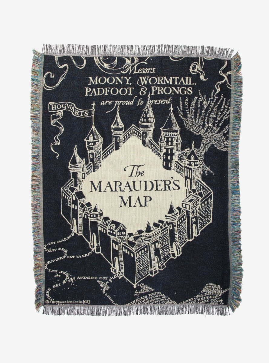 Harry Potter Marauder's Map Black Woven Tapestry Throw Blanket Hot Topic 11351108