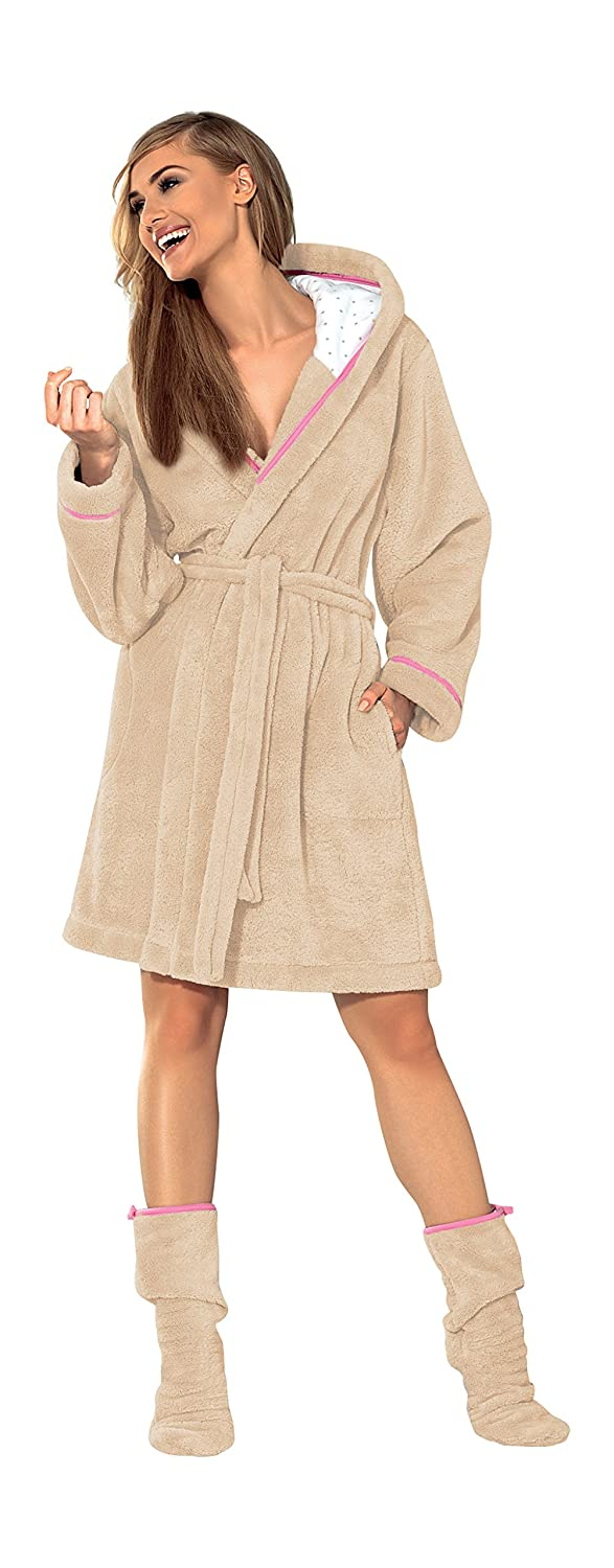 L&L Company Womens Luxury SOFT Bath Robe Housecoat Dressing Gown Bathrobe with Belt and Hood, Knee Length Size S M L XL