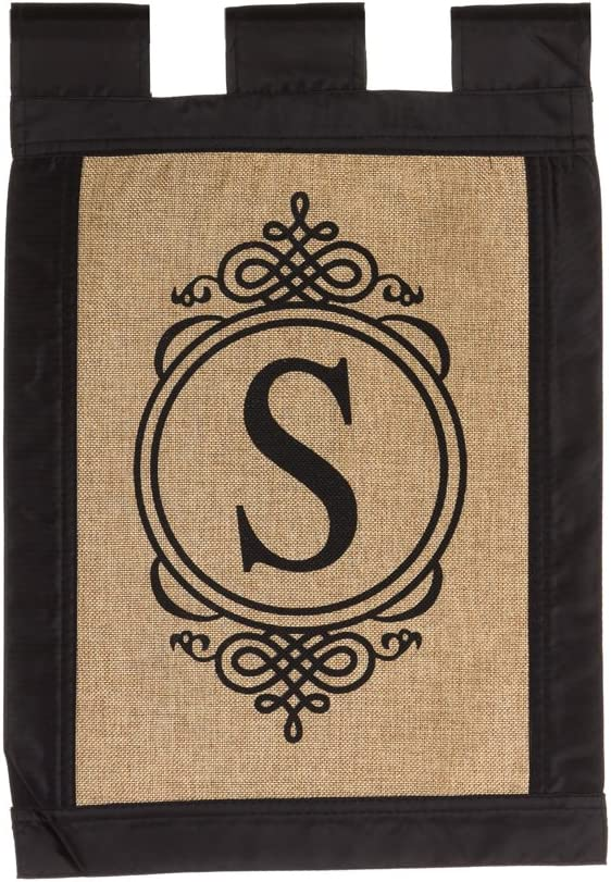 "Evergreen ""S"" Monogram Double-Sided Burlap Garden Flag - 12.5""W x 18""H"